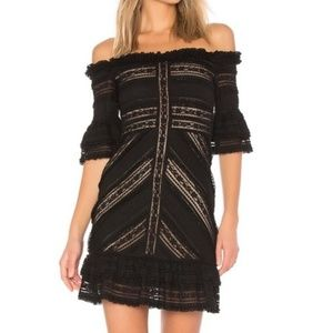 REVOLVE Cinq a Sept black lace naya mini dress